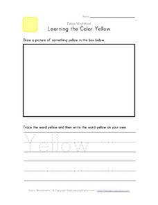 Learning the Color Yellow Worksheet