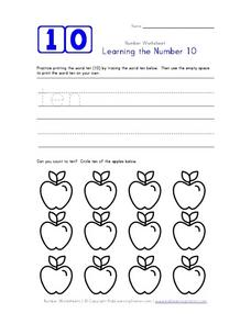 Learning the Number 10 Worksheet