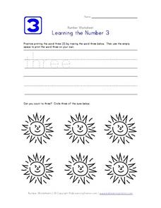 Learning the Number 3 Worksheet