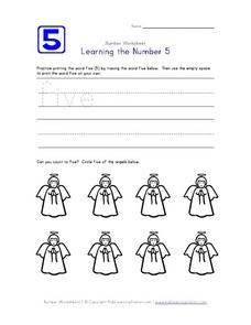 Learning the Number 5 Worksheet