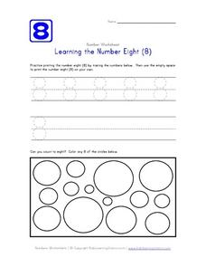 Learning the Number Eight (8) Worksheet