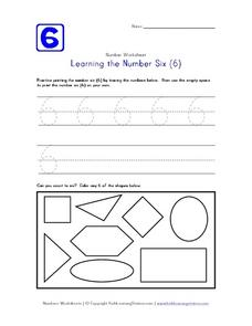 Learning the Number Six (6) Worksheet