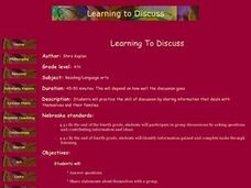 Learning To Discuss Lesson Plan