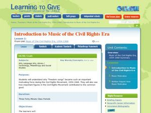 Learning to give: freedom songs Lesson Plan