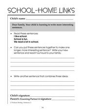 Learning to Write Sentences: School-Home Links Worksheet