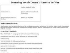 Learning Vocab Doesn't Have to be War Lesson Plan