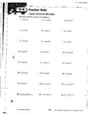Least Common Multiple Worksheets. Free Least Common Multiple ...