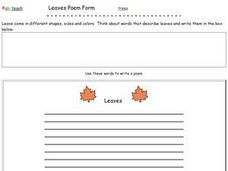 Leaves Poem Worksheet