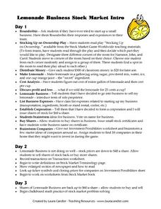 Lemonade Business Stock Market Intro Lesson Plan