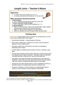 Length Lotto-Teacher's Notes Lesson Plan