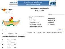 Length Units-- Metric System  Basic Facts #1 Worksheet