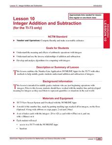 Lesson 10: Integer Addition and Subtraction (for the TI-73 only) Lesson Plan