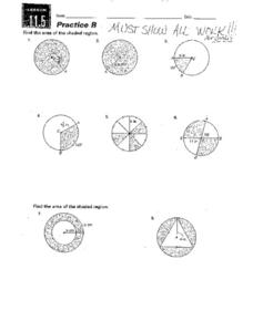 Lesson 11.5 Practice B: Area Worksheet