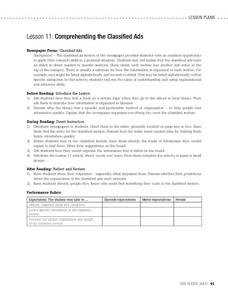 Lesson 11: Comprehending the Classified Ads Worksheet