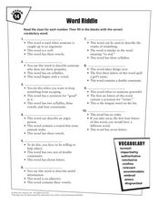 Lesson 14 Vocabulary Word Riddle Worksheet