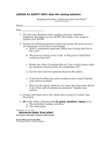 LESSON #2 SAFETY UNIT: Real-life reading selection Worksheet