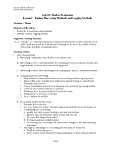 Lesson 2: Timber Harvesting Methods and Logging Methods Lesson Plan