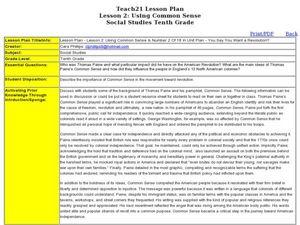 lesson 2 using common sense 10th grade lesson plan lesson planet. Black Bedroom Furniture Sets. Home Design Ideas