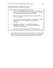 related rates homework worksheet