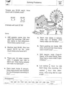 Lesson 35 Solving Problems Worksheet