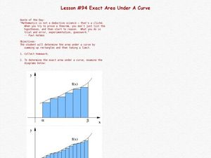 Lesson #94 Exact Area Under A Curve Lesson Plan