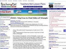 Lesson Exchange: Trig Functions to Find Sides of Triangle (Senior, Mathematics) Lesson Plan