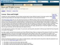 Lesson-Mass and Weight Lesson Plan