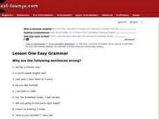 Lesson One Easy Grammar Worksheet