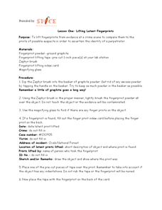 Lesson One: Lifting Latent Fingerprints Lesson Plan