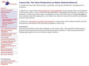 Lesson One:  The Three Perspectives on Native American Removal Lesson Plan