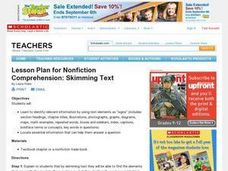 Lesson Plan for Nonfiction Comprehension: Skimming Text Lesson Plan
