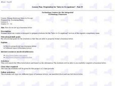 "Lesson Plan: Preparation for ""Intro to Occupations"" - Part IV Lesson Plan"