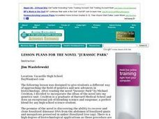 "Lesson Plans for the Novel ""Jurassic Park"" Lesson Plan"