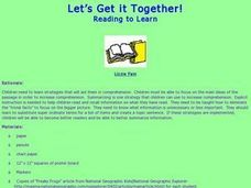 Let's Get it Together! Reading to Learn  Lesson Plan