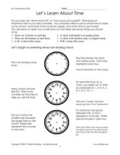 Let's Learn About Time Worksheet
