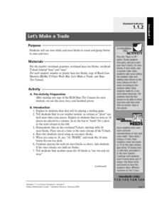 Let's Make a Trade Lesson Plan