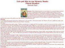 Let's Put This in Our Memory Banks Fluent Readers Lesson Plan
