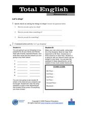 Let's Shop - Asking for Things in Shops! Worksheet