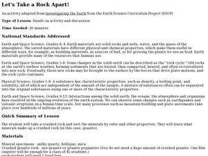 Let's Take a Rock Apart! Lesson Plan
