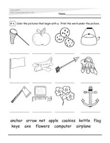 Letter A Picture and Word Match Worksheet