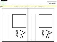 Letter A Word Definitions and Illustrations for Mini Book Worksheet