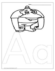 Letter Aa is for Ape Worksheet