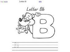 Letter B Printing Practice and Coloring Worksheet