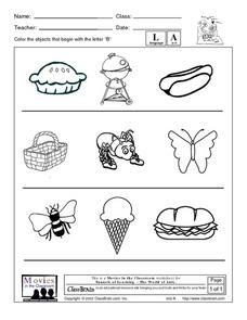 Letter B Word Pictures Worksheet