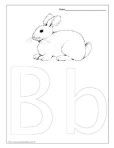 Letter Bb is for Bunny Worksheet