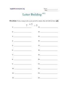 Letter Building #11 Worksheet