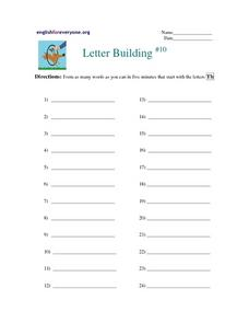 Letter Building- Words That Begin With Th Worksheet