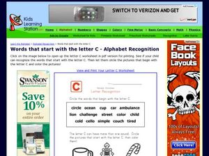 Letter C- Alphabet Recognition Worksheet