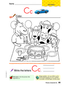 Letter Cc Coloring Sheet Worksheet