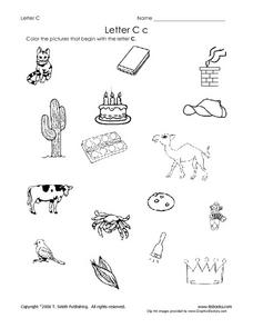 Letter Cc Pictures Worksheet